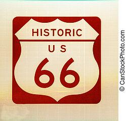 Historische US-Route 66 Zeichen.