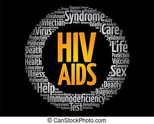 hiv, gesundheit, aids, wort, begriff, collage, wolke