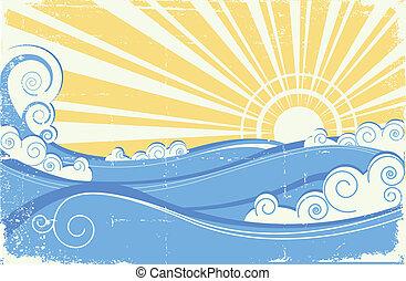 Hochseewellen. Vektor illustriert Meereslandschaft mit Sonne