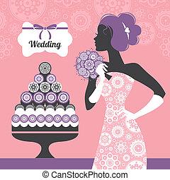 Hochzeitseinladung. Wunderschöne Brautsilhouette