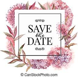 Hochzeitseinladungskarte mit Aquarellblumen