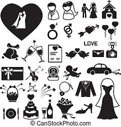 Hochzeitssymbole setzen Illustrations-Eps.