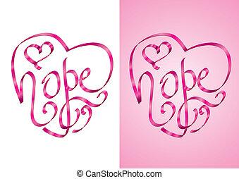 hoffnung, -, bewusstsein, krebs, brust