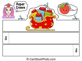 holidays., schablone, karikatur, geburtstage, suitable, papier, printing., hintergrund., krone, vektor, parteien, weißes, isolierte farbe, character., reizend, kids., spiele, abbildung
