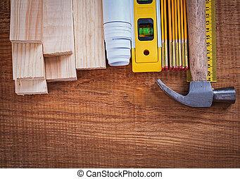 Holzbausteine und Zähler-Blädungen, Regelhammerkonstruktionenlev.