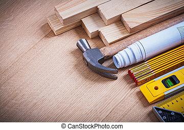 Holzgestüt Blaupausen Instrumente der Messkrallen Hammer c.