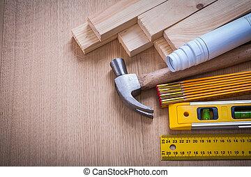 Holzgestüts und Zähler-Regler Hammer-Blueprints Bauleve.