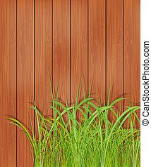 Holzzaun und grünes Gras