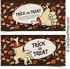 horizontal, halloween, banner, übel