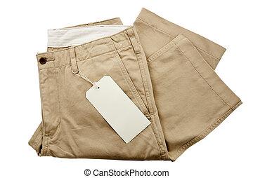 Hosen mit Markierung.