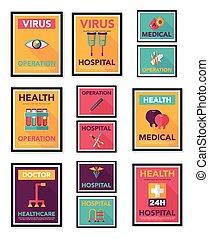 Hospital Poster Banner Design Flat Hintergrund Set, eps10.