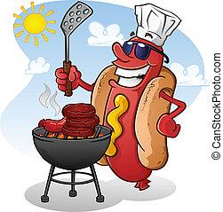 Hot Dog Cartoon-Figuren grillen