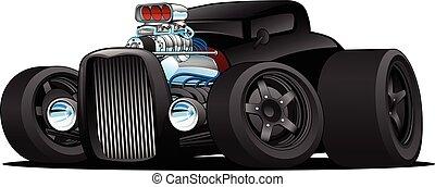 Hot Rod Jahrgang Coupe kundenspezifische Auto Cartoon Vektor Illustration