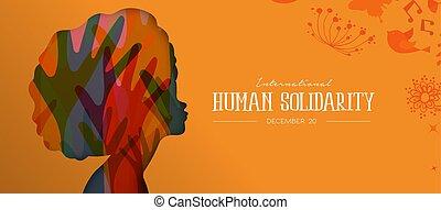 Human Solidar Day Card mit afro Frauenprofil.