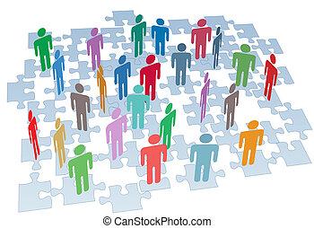 Humanressourcen-Gruppenverbindung Puzzle-Netzwerk