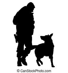 hund, polizei, silhouette, 5