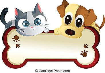 Hund und Katze mit Banner
