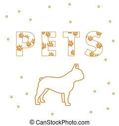 Hunde und die Inschriften Pets mit Spuren.