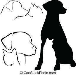 Hunde- und Katzensilhouette