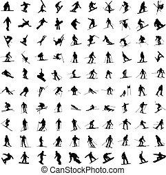 hundert, skiers., silhouette