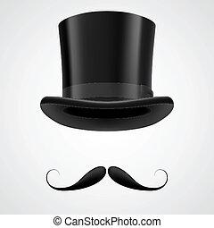 hut, viktorianische , herr, stovepipe, moustaches