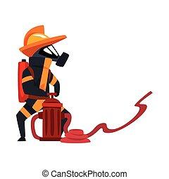 hydrant, schützend, feuerwehrmann, feuerwehrmann, maske, abbildung, uniform, wasser, sprühen, vektor, hintergrund, gebrauchend, weißes, zeichen