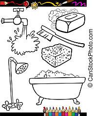 hygiene, färbung, karikatur, gegenstände, seite