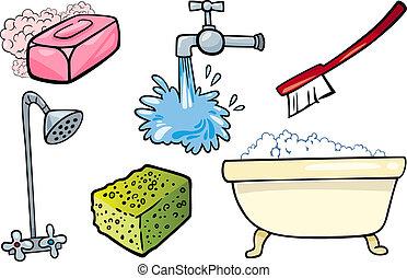 hygiene, gegenstände, satz, karikatur, abbildung