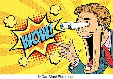Hyper-Expressive Reaktion Zeichentrickfilm Wow Mann Gesicht, große Augen und Widrigkeit