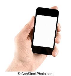 Ich halte das Handy in der Hand