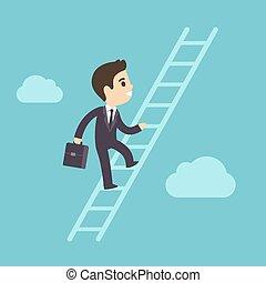 Ich klettere auf Firmenleiter