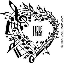 Ich liebe Musikkonzept, Schwarz-Weiß-Design.