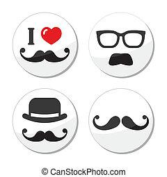 Ich liebe Schnurrbart-Ikonen