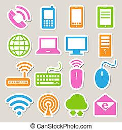 Icon Set von mobilen Geräten , Computer und Netzwerkverbindungen.