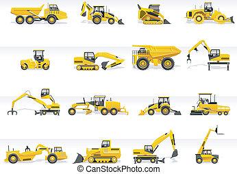 icon., vektor, transport, traktor