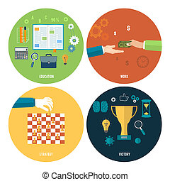 Icons für Bildung, Arbeit, Strategie, Sieg.