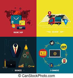 Icons für E-Commerce, Lieferung, Online-Shop.
