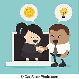 Idea einer Geschäftsperson, die die Zusammenarbeit zwischen den beiden Unternehmen über das Internet oder elektronische Mittel demonstriert.