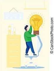 idee, zurück, bildung, neu , licht, besitz, begriff, über, mann, icons., schule, glühen, bulb.