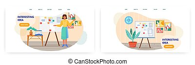 ideen, firmenschulung, schablone, geschaeftswelt, weißes, design, illustration., geschenk, web, board., darstellung, standort, begriff, frau, büro., sie, vektor