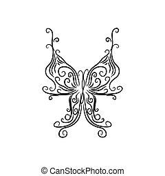 identität, design, brandmarken, zeichen, korporativ, papillon, logo, freigestellt, weißes, schablone, hintergrund.