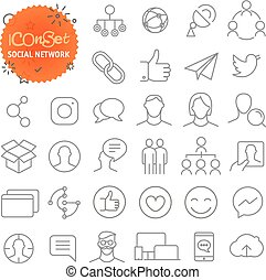 Ikone eingestellt. Web und mobile app dünne Linie Icons. Soziales Netzwerk