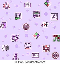 ikone, farbe, tisch, spiele, vektor, satz, linie