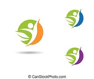 ikone, leben, vektor, gesunde, schablone, logo
