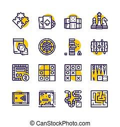ikone, satz, tisch, vektor, farbe, spiele, linie