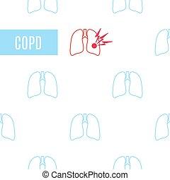 ikone, stil, nachgebildet, lungen, copd, linear, plakat