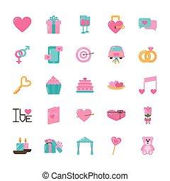 ikone, tag, design, valentines, liebe, satz, vektor