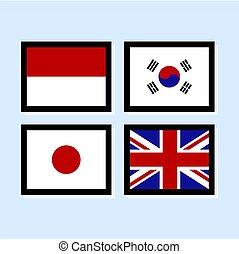 ikone, vektor, abbildung, fahne, 2, sammlung