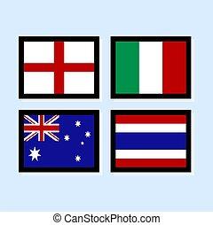 ikone, vektor, abbildung, fahne, sammlung, 3