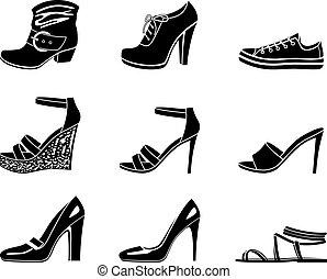 Ikonen aus weiblichem Schuh